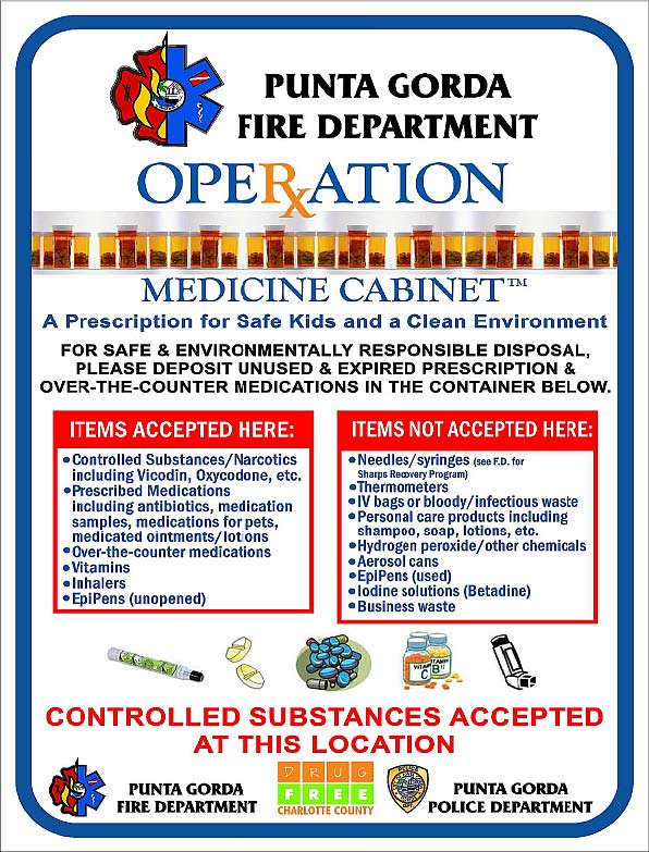 the punta gorda fire department in cooperation with the punta gorda police department and drug free charlotte county takes a proactive stance by helping