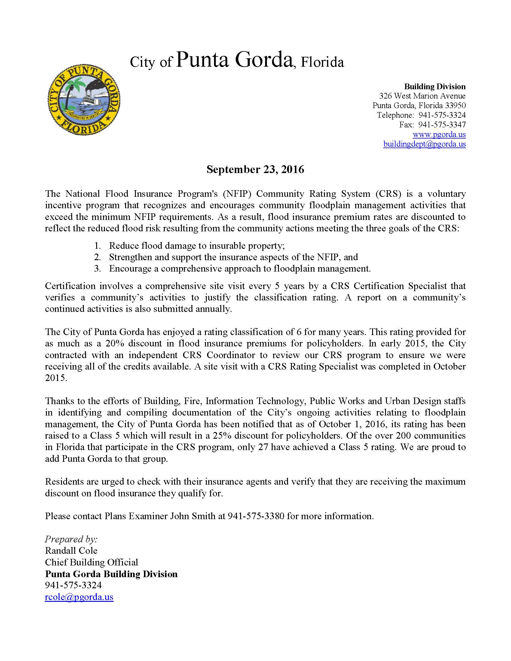 City Achieves Class 5 Community Rating Under The National Flood