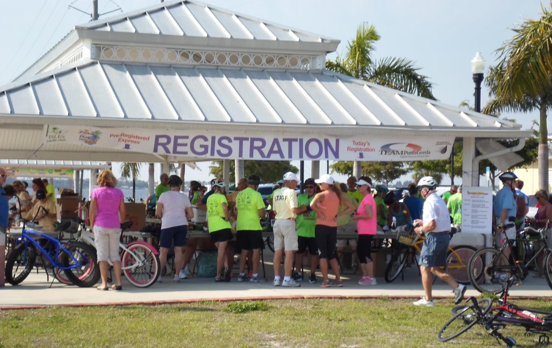 Photo of Cyclist Registration Event Participants Registering