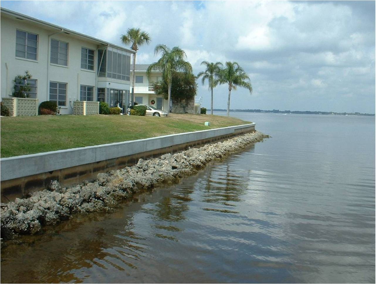 Image of Seawall, Condos along water.