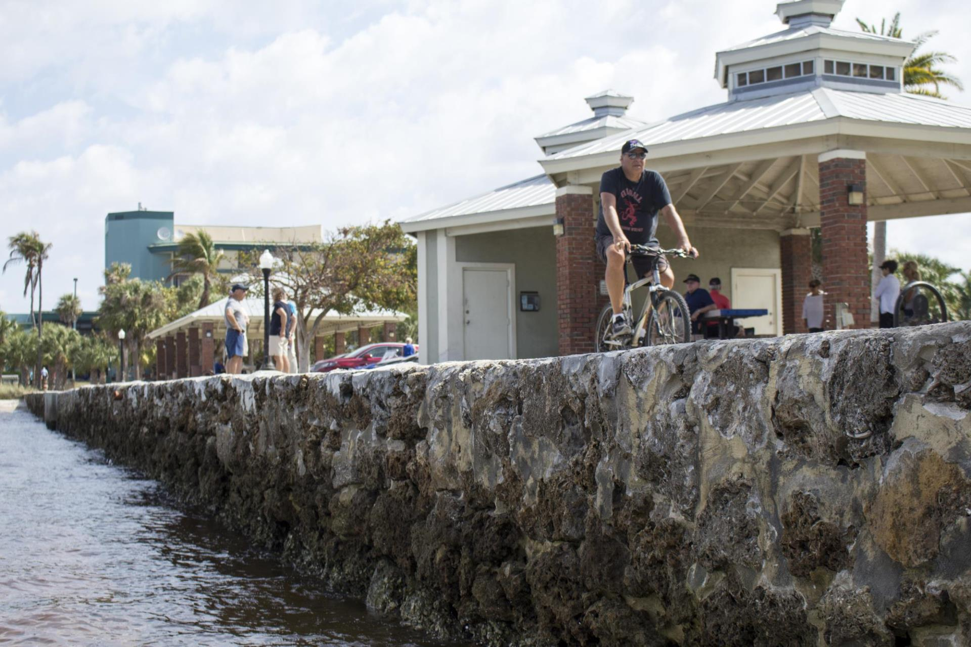 person biking along harbor at gilchrist park