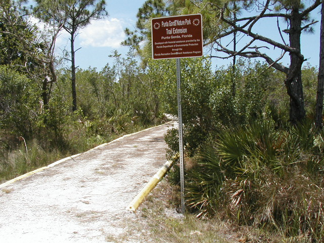 nature park trail extension sign and pathway