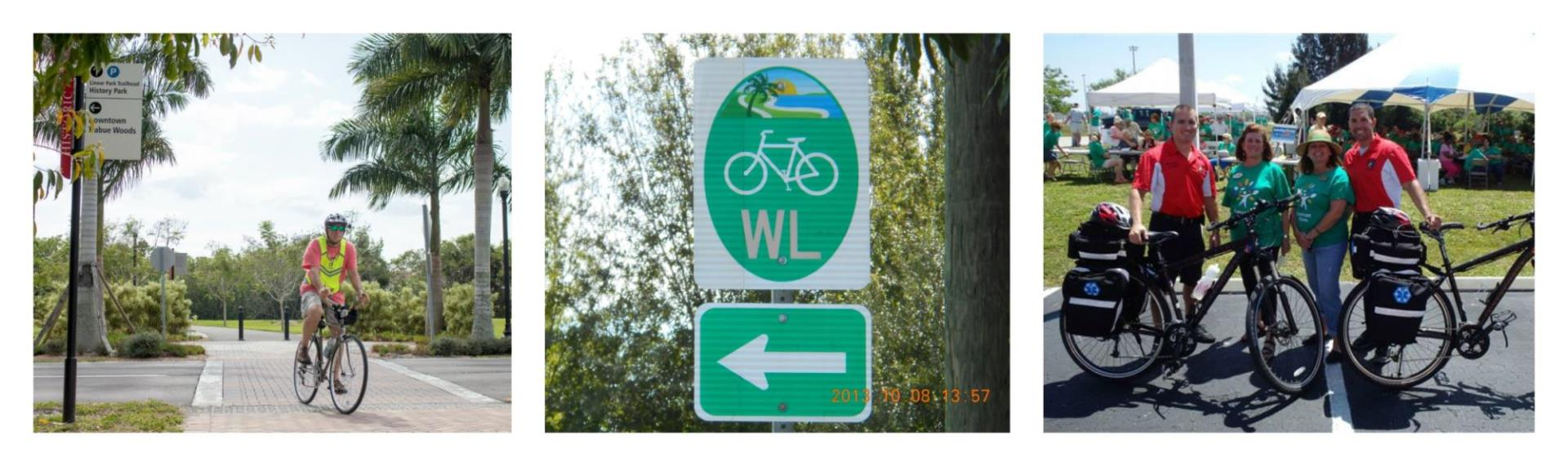 collage of images with bike signs, someone biking, and multiple bikers