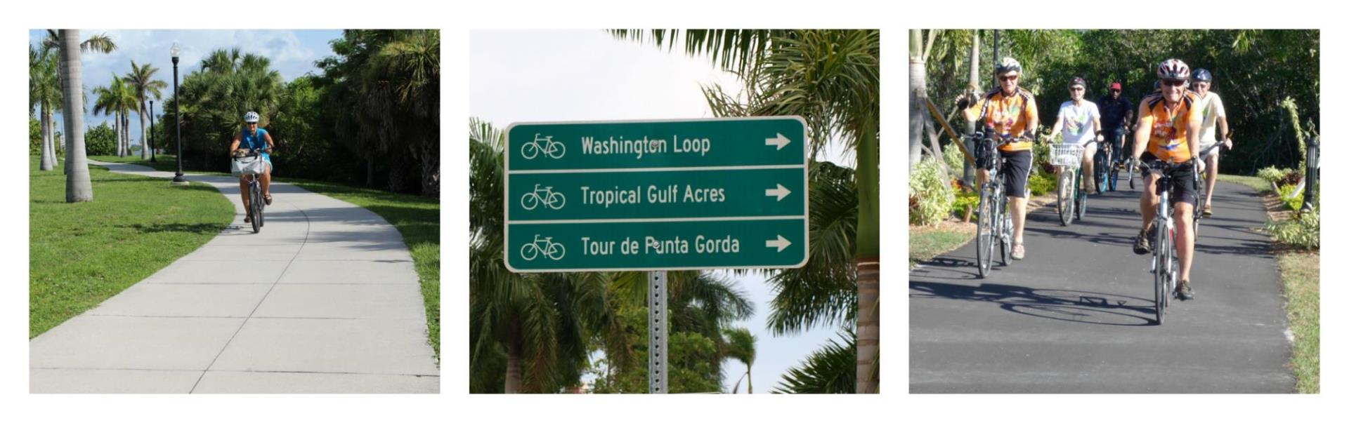 collage of bikers and biking trail signs