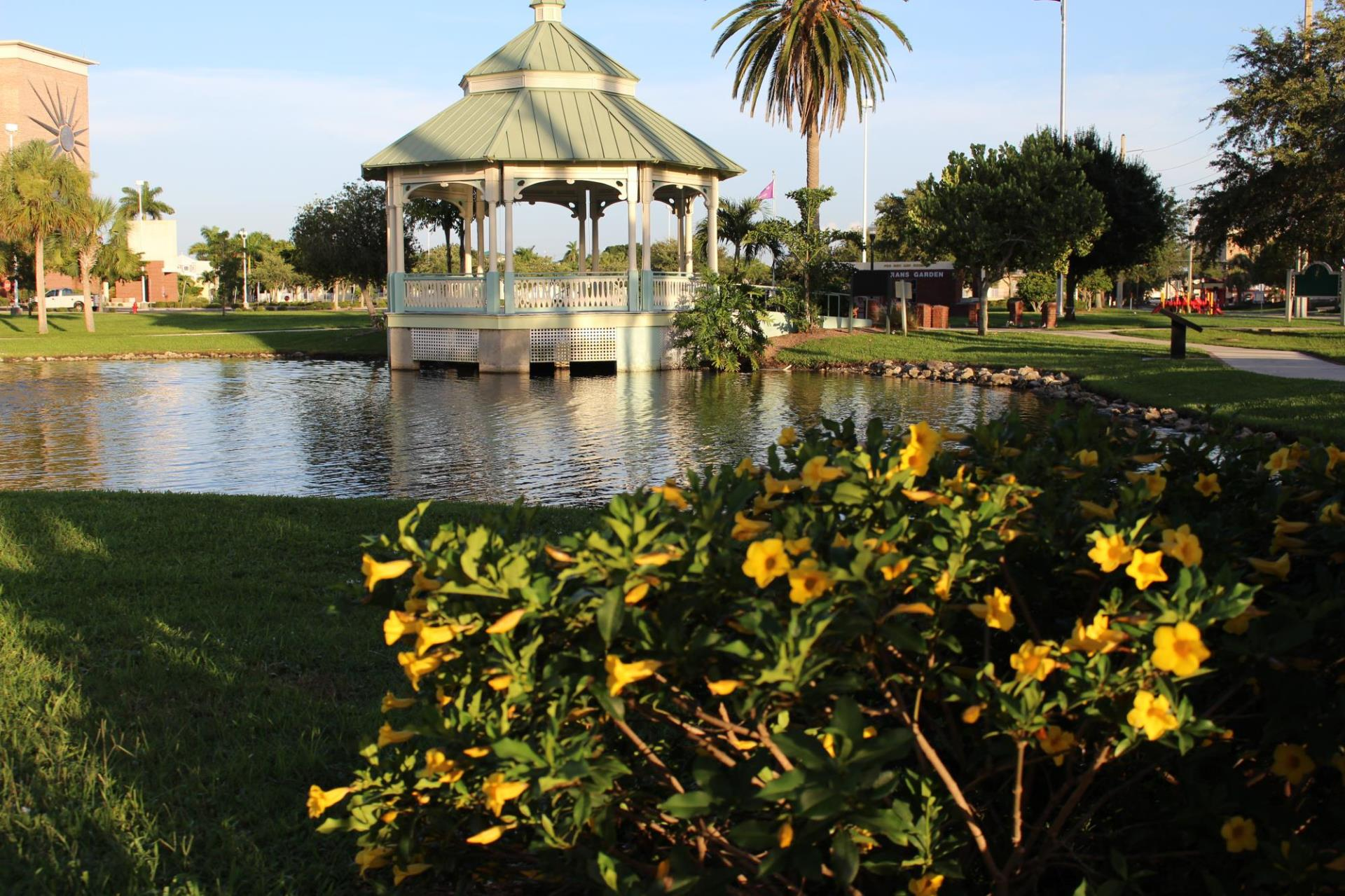 Veterans park gazebo and lake