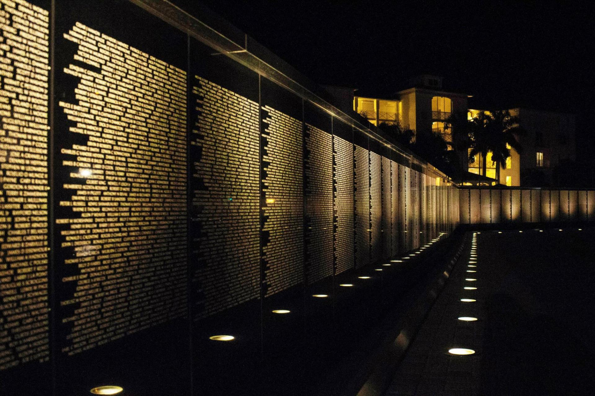 Veterans Wall at Night