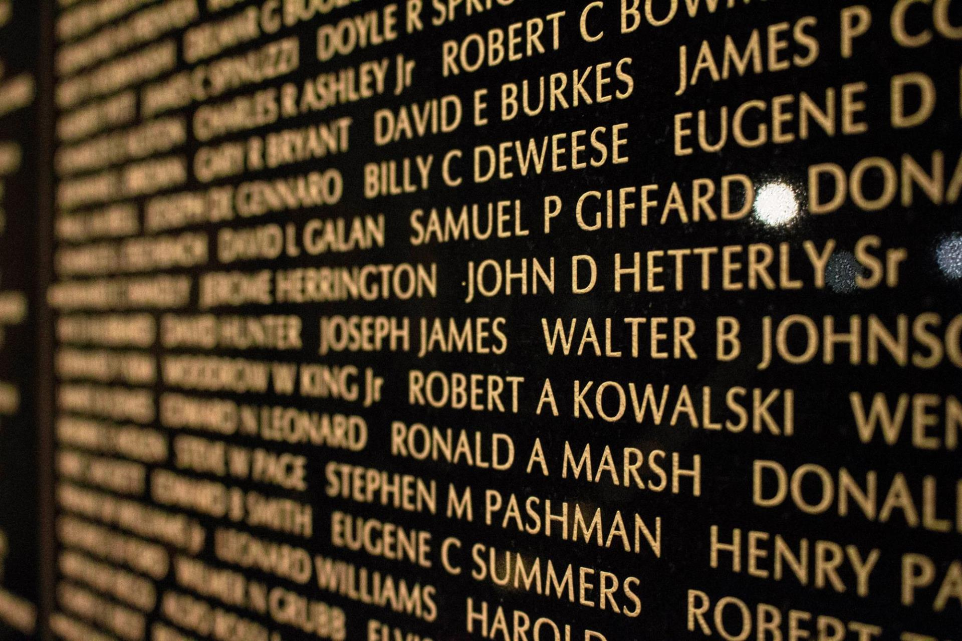 Close up of Veterans Wall panels with names listed