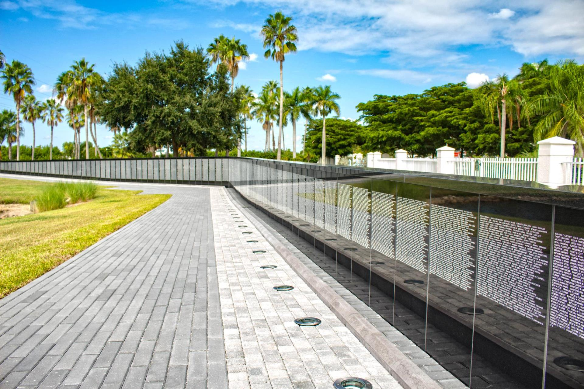 Brick path along the vietnam memorial wall panels