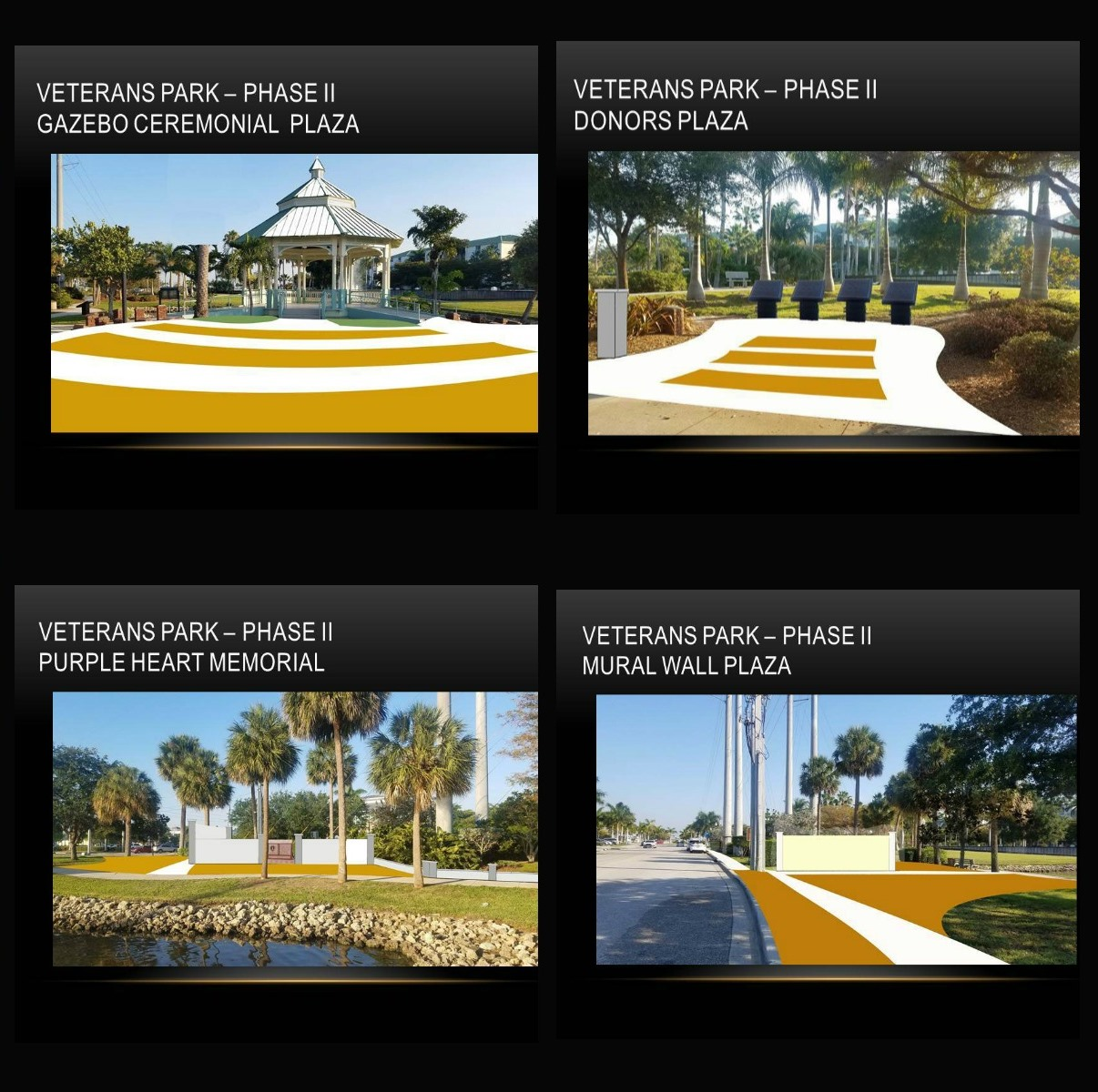 Photos Of Verterans Park -Phase II Gazebo, Donors Plaza, Purple Heart Memorial, Mural Wall Plaza