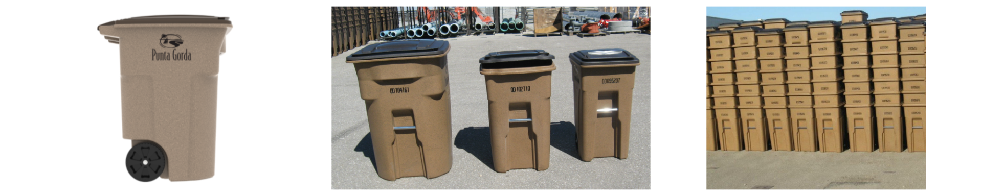 Toter available garbge containers. Large, medium, and small.
