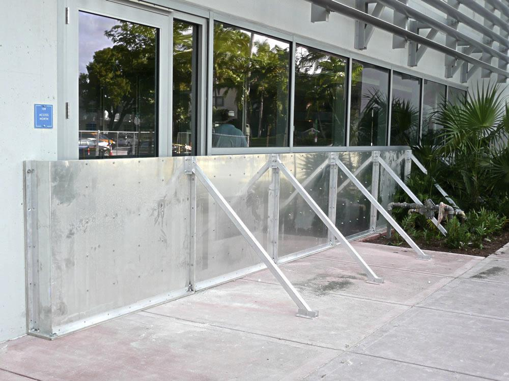 Temporary Flood Barrier Protecting Building Entryway