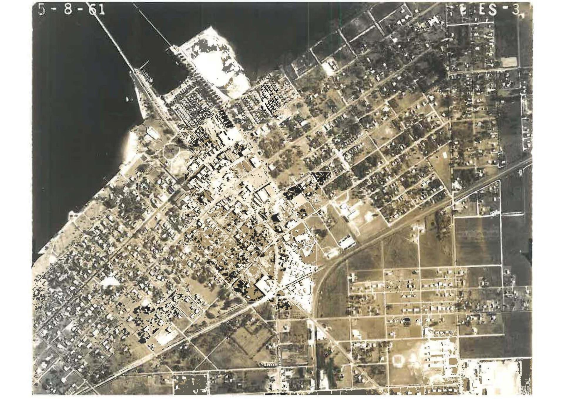 arial view of punta gorda downtown in 1961